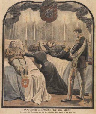 De rouwende Marie Amélie en prins Emanuel