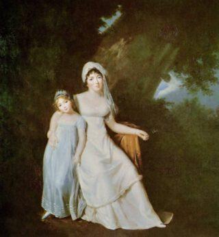 Madame de Staël en haar dochtertje Albertine, geschilderd door Marguerite Gérard rond 1805