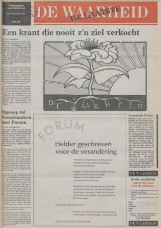 Voorpagina van het laatste nummer van De Waarheid (28-4-1990) - Delpher