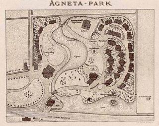 Kaart van het Agnetapark rond 1885