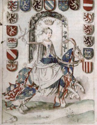 Maria in de Excellente Cronyke van Vlaenderen, eind 15e eeuw