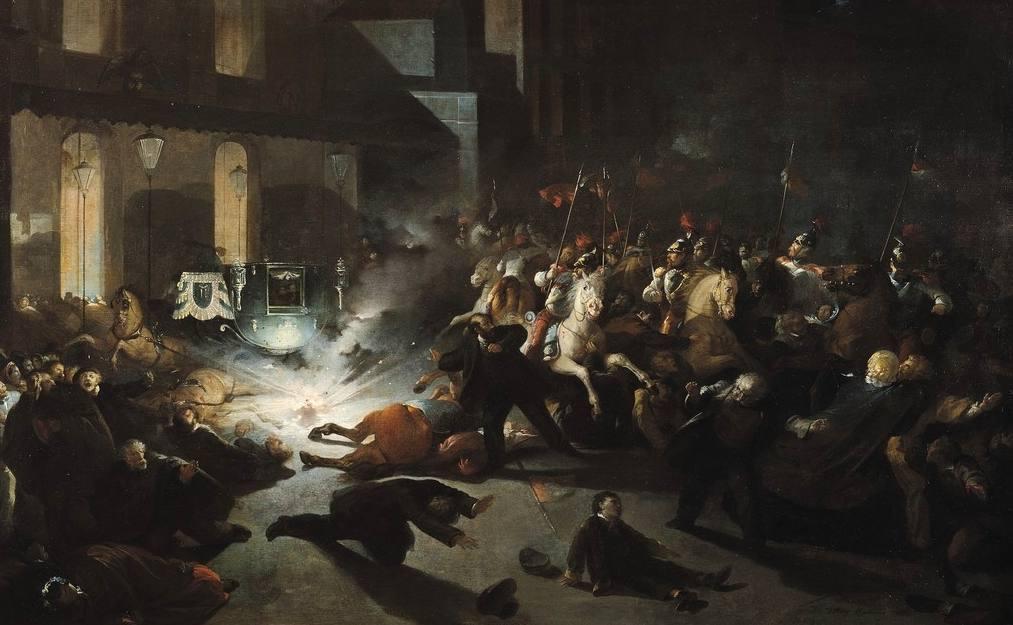 Voorstelling van de mislukte aanslag op Napoleon III op 14 januari 1858 - H. Vittori Romano
