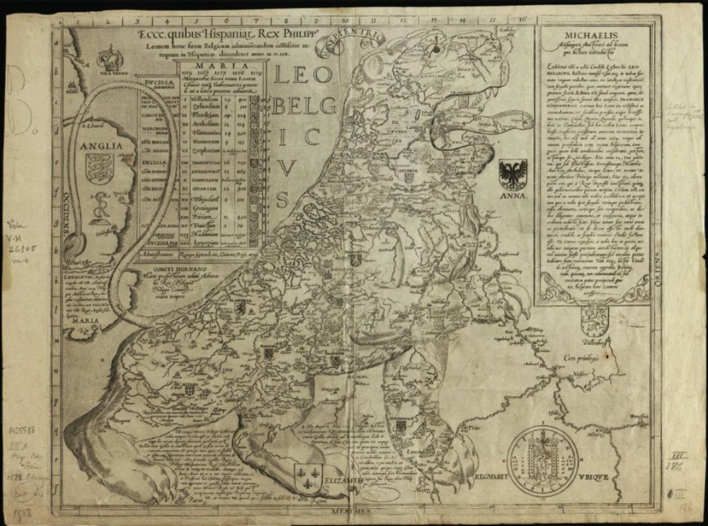 Leo Belgicus door Michael baron von Aitzinger, 1583