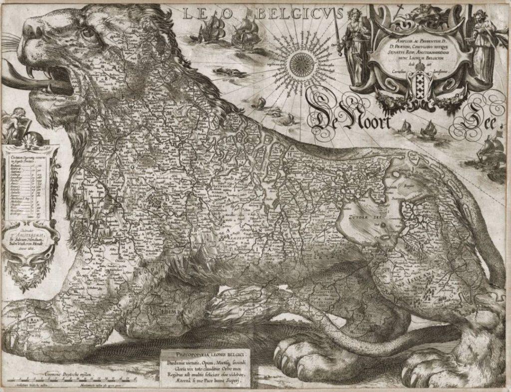 Leo Belgicus door Jodocus Hondius 1611