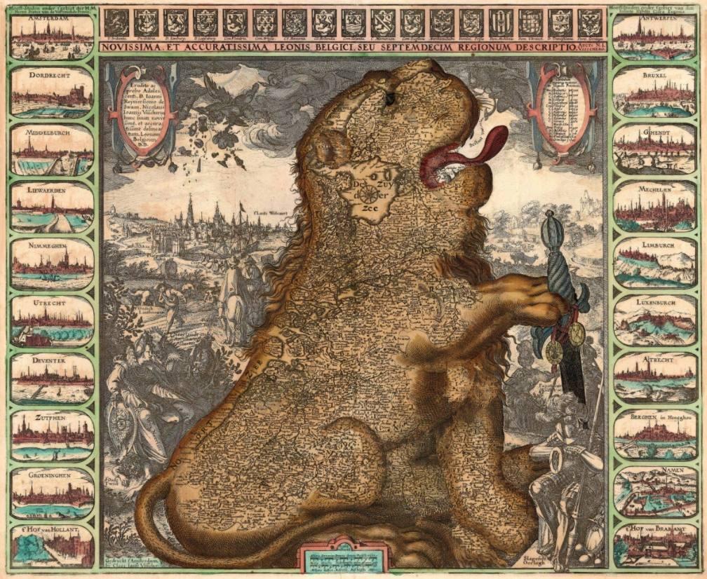 Leo Belgicus door Claes Jansz. Visscher, 1609