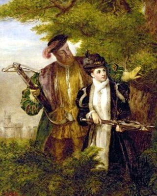 Vroeg twintigste-eeuwse verbeelding van Anna Boleyn en Hendrik VIII tijdens een herenjacht - William Powell Frith