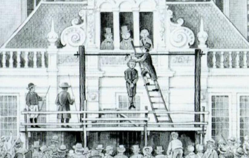 De ophanging van Albert Wetterman op de Markt te Zwolle, 7 juli 1837