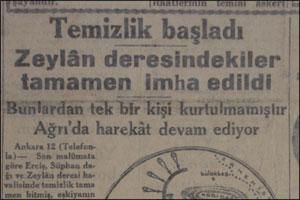 Krantenbericht over het begin van de Turkse operatie