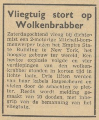 Bericht over de crash in Het Parool van 30 juli 1945