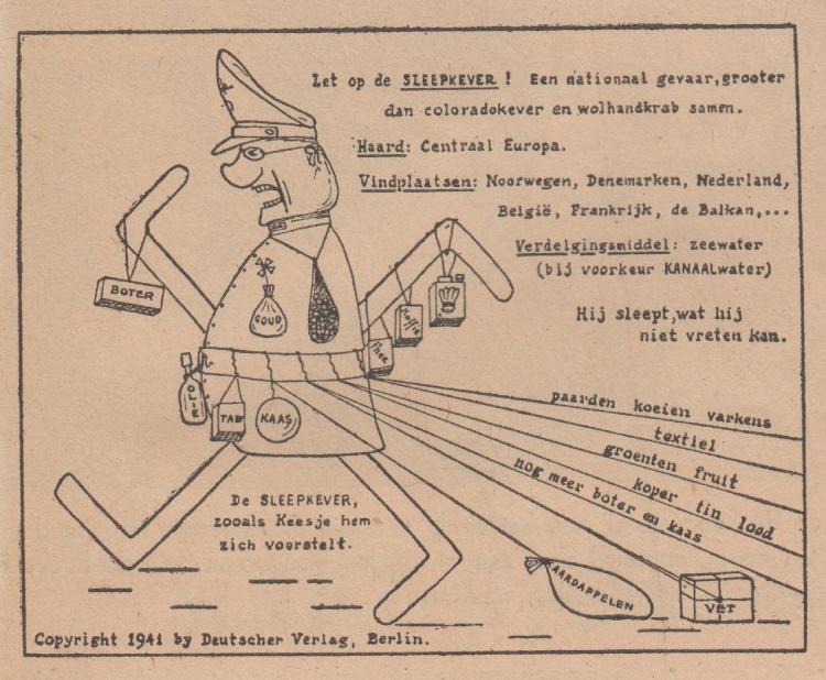 Cartoon uit 1941. Uit: Oorlogskeuken