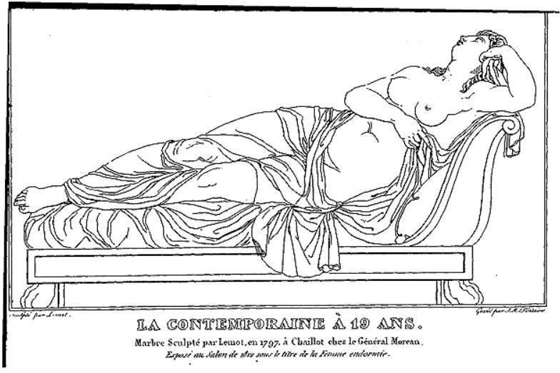 Vervelt op 19-jarige leeftijd, getekend naar een marmeren beeld van François-Frédéric Lemot, gemaakt in opdracht van Moreau