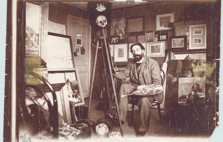 James Ensor in zijn atelier, 1899