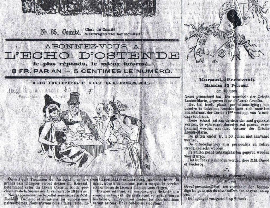 Aankondiging voor de eerste  'Bal du Rat Mort' in 1898