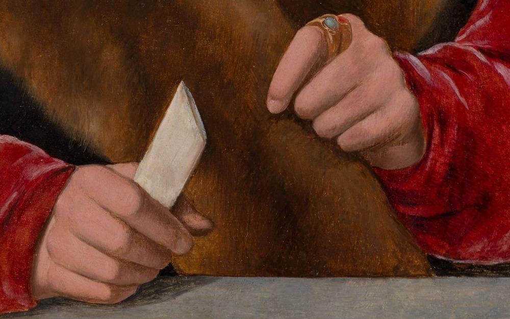 Handen van Jakob Omphalius, geschilderd door Bartholomäus Bruyn de Oude