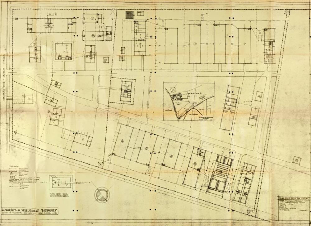 Plattegrond van Kamp Rhijnauwen door architect en gedetineerde Charles Quéré, 1946. - Het Utrechts Archief, archief Commissaris der Koningin 1920-1954