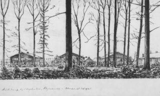 Tekening K. Braak, 'NSB kamp, bij 't Vogelenbos, Rhijnauwen - Utrecht 28 Oct. 1945'. Het Utrechts Archief, collectie beeldmateriaal