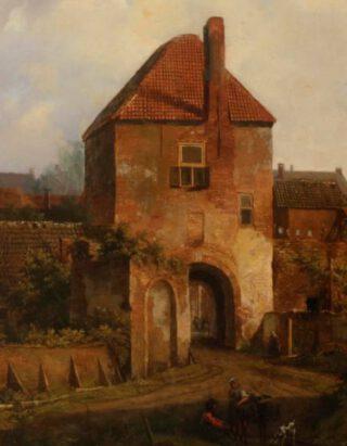 Johannes Franciscus Christ, Gezicht op de Rijnpoort te Rhenen, ca. 1838 - detail