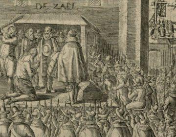 De onthoofding van Johan van Oldenbarnevelt, 1619 - Anonieme zeventiende-eeuwse prent