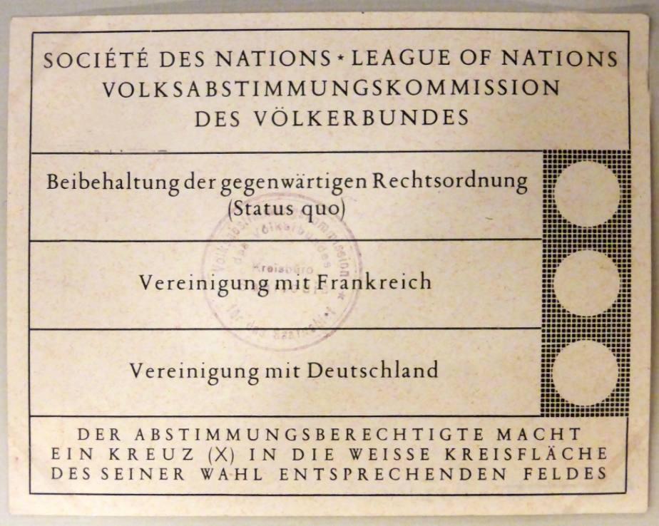 Stemformulier voor de volksraadpleging onder de  Saarlanders - 13 januari 1935