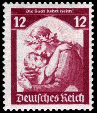 """""""Die Saar kehrt heim!"""" - Postzegel ter gelegenheid van de terugkeer van het Saargebied in het Duitse Rijk"""