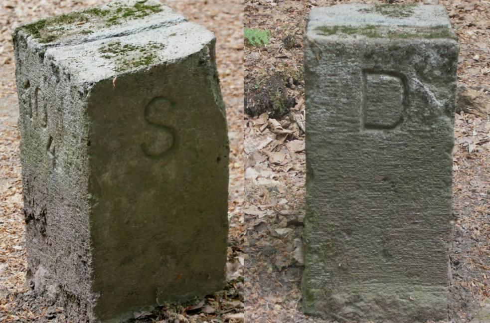 Markering van de voormalige grens tussen Duitsland en het Saargebied bij Theley