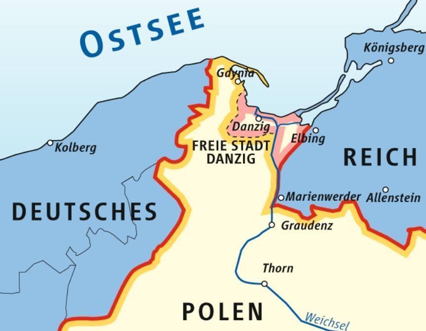 Positie van de vrije stad Danzig, 1920-1939, ten opzichte van de provincie Pommeren, de Poolse Corridor en het Duitse Oost-Pruisen