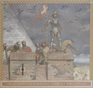 Jan van Schaffelaar werpt zich van den toren te Barneveld