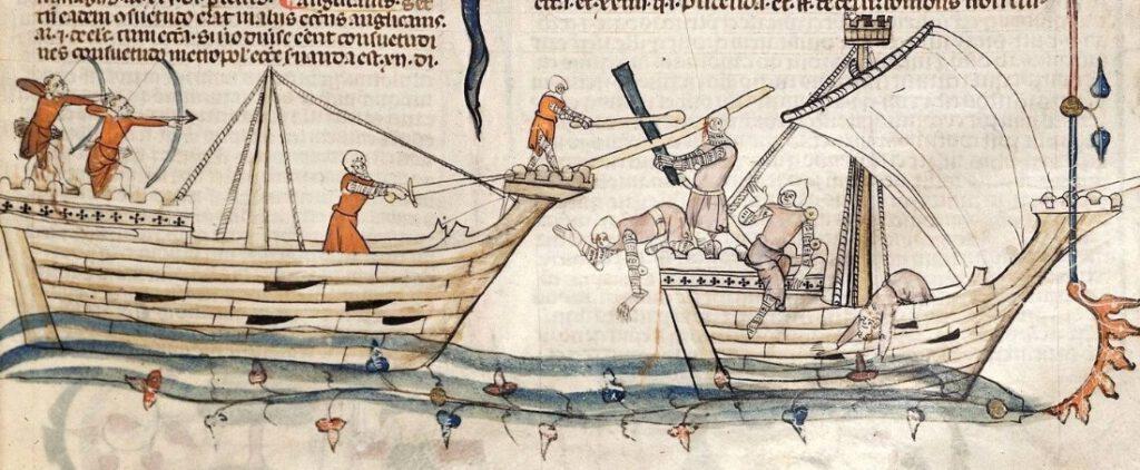 Willekeurige afbeelding van een scheepsgevecht in de 14e eeuw.