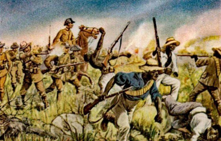 Namibische Genocide - Duitse troepen in gevecht met de Herero, een schilderij van Richard Knötel
