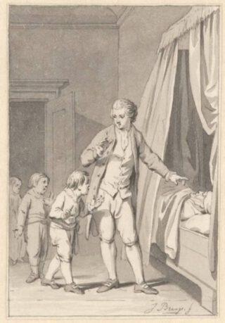 Tekening bij een kindergedicht van  Hieronymus van Alphen, 1779