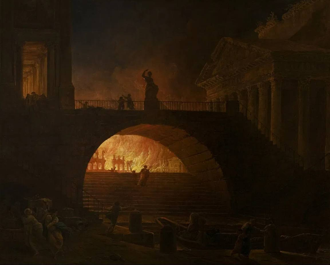 Grote brand van Rome – Hubert Robert, ca. 1785