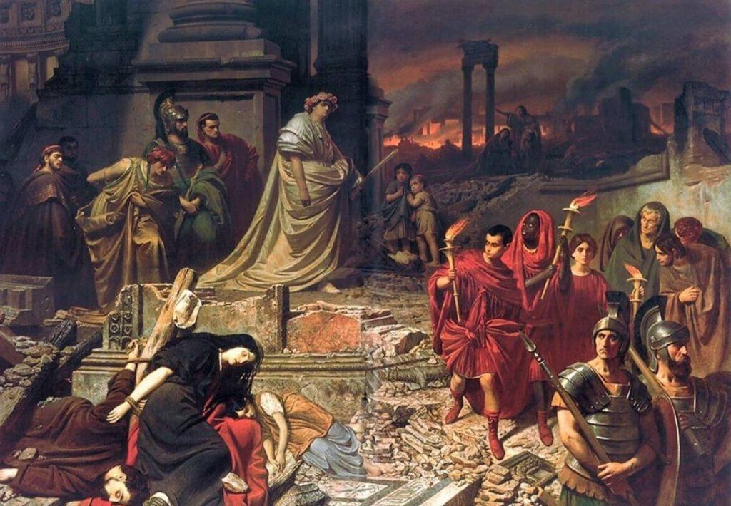 Een voorstelling van de grote brand van Rome. Op de achtergrond Nero en de ruïnes van de brandende stad. Een schilderij van Karl Theodor von Piloty (ca. 1861).