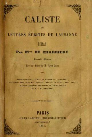 Lettres écrites de Lausanne - Belle van Zuylen