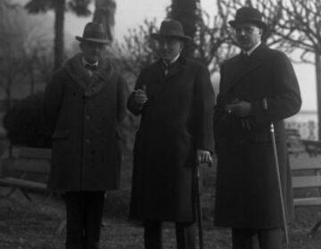 Duitse delegatie voorafgaand aan een bijeenkomst van de Volkenbond in 1928