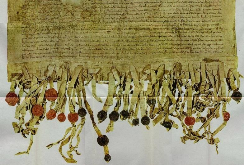 Declaration of Arbroath - Detail van een replica van het document