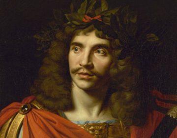Molière in de rol van Caesar - Schilderij door Nicolas Mignard, 1658