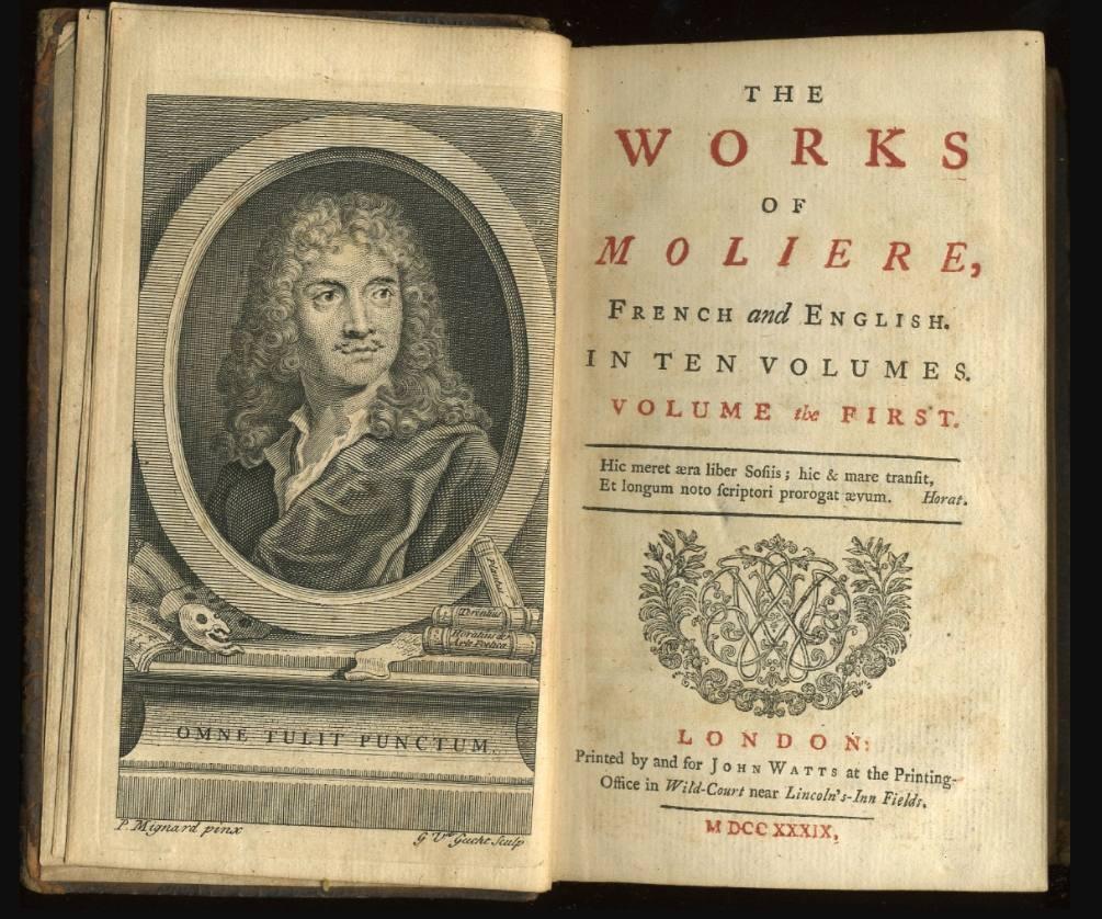 Boek met in het Engels vertaald werk van Molière, 1739