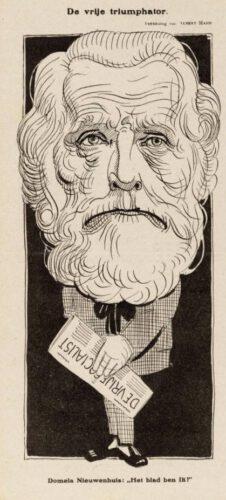 Spotprent van Domela Nieuwenhuis als auteur van 'De vrije socialist' - Tekening door Albert Hahn