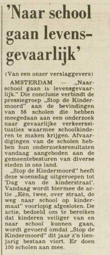 Artikel in 'Het vrije Volk' over de actiegroep ´Stop de Kindermoord´ - 13 oktober 1982