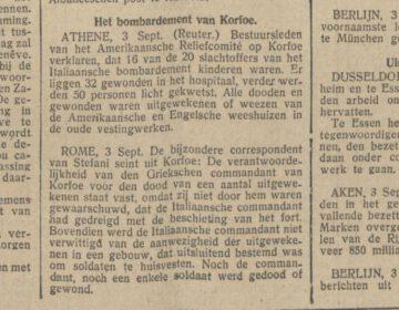 Bericht in De Tijd van 4 september 1923 over het bombardement op Korfoe