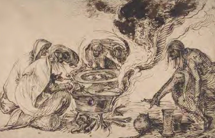 Jacob de Gheyn (II), Heksensabbat (ca. 1600). Vier heksen verzamelen rond een ketel. Een kat houdt hen gezelschap (The Metropolitan Museum of Art New York). Uit: Zat het snor?