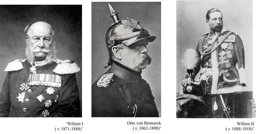 Duitse leiders lieten zich normaal gesproken daadkrachtig en serieus afbeelden (vlnr: Keizer Willem I, Otto von Bosmarck en Willem II)