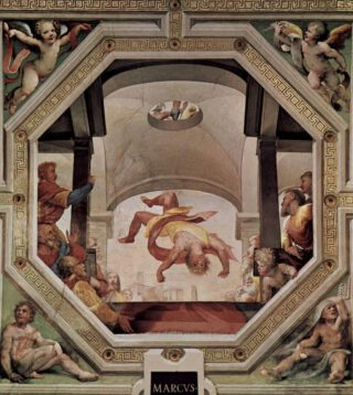 Marcus Manlius wordt van de Tarpeïsche rots gegooid - Fresco van Beccafumi in het Palazzo Pubblico in Siena