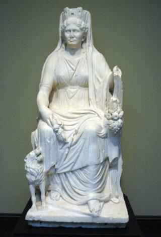 Romeins beeld van Kybele op haar troon, ca. 50 na Chr.