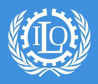Embleem op de vlag van de International Labour Organization (ILO)