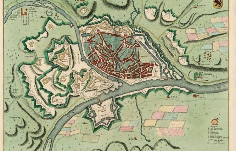 Plattegrond van barrièrestad Namen, 1745