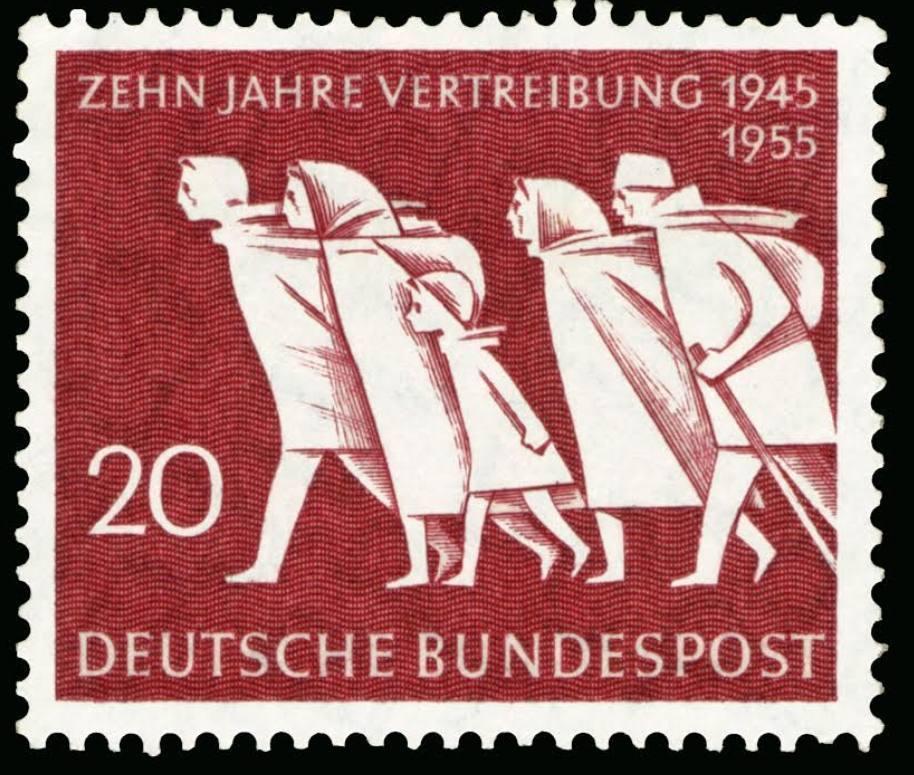 Westduitse postzegel (1955) ter herdenking van de 'Vertreibung' van Duitsers uit gebieden die aan andere landen werden toegewezen.