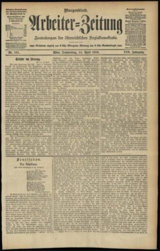 Editie van 'Die Arbeiter-Zeitung' uit 1910
