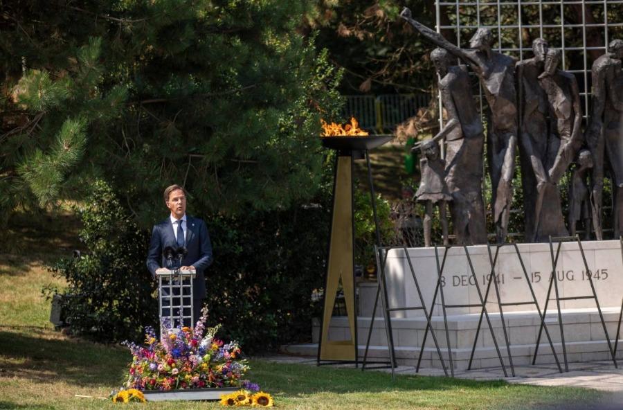 Premier Rutte geeft een toespraak tijdens de Nationale Herdenking 15 augustus 1945