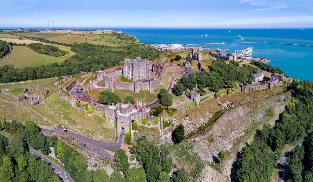 Luchtfoto van Dover Castle, 2017